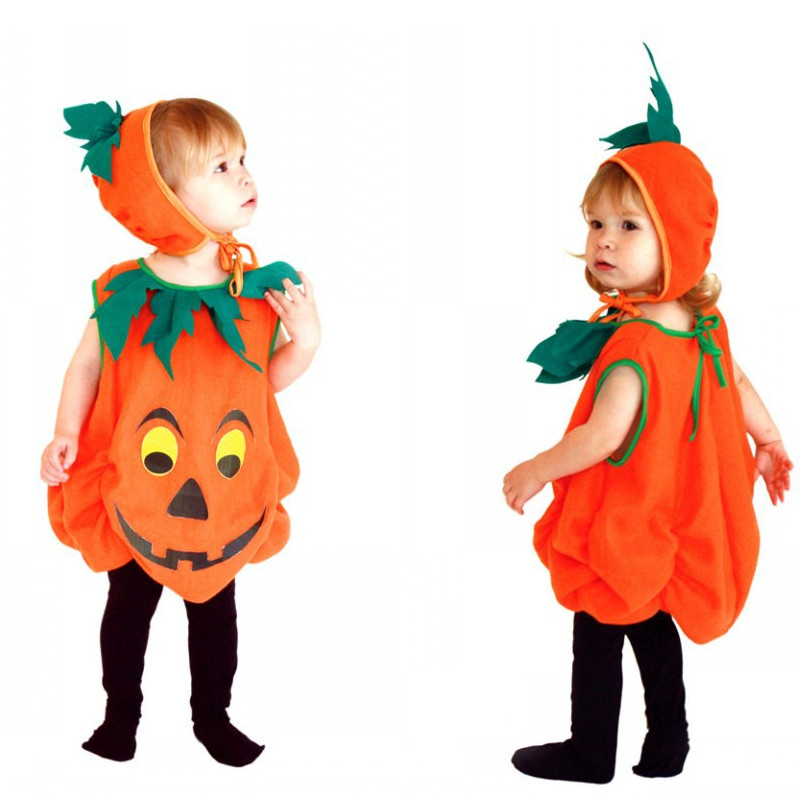 S-M Halloween Costumes for Children Unisex Kids Pumpkin skirt Cosplay Fantasia Kids pajamas Christmas Stage performance dress