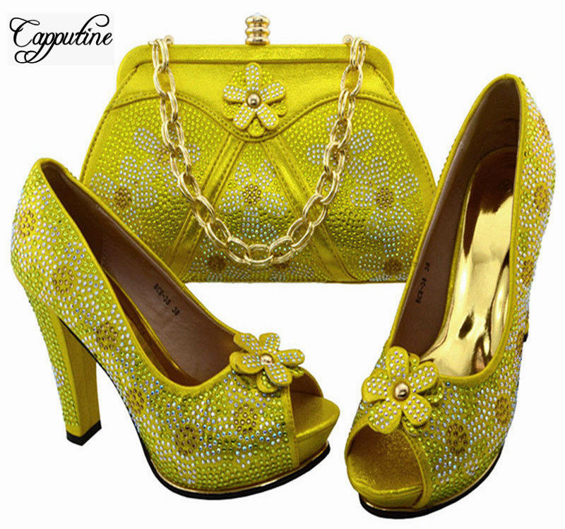 Capputine New Style Rhinestone Yellow Color Shoes And Bag Set African Rhinestone High Heels Shoes And Purse Set For Party BCH-38 capputine new fashion shoes and bag set for party usage new italian high heels ladies teal color shoes and bag set bch 40