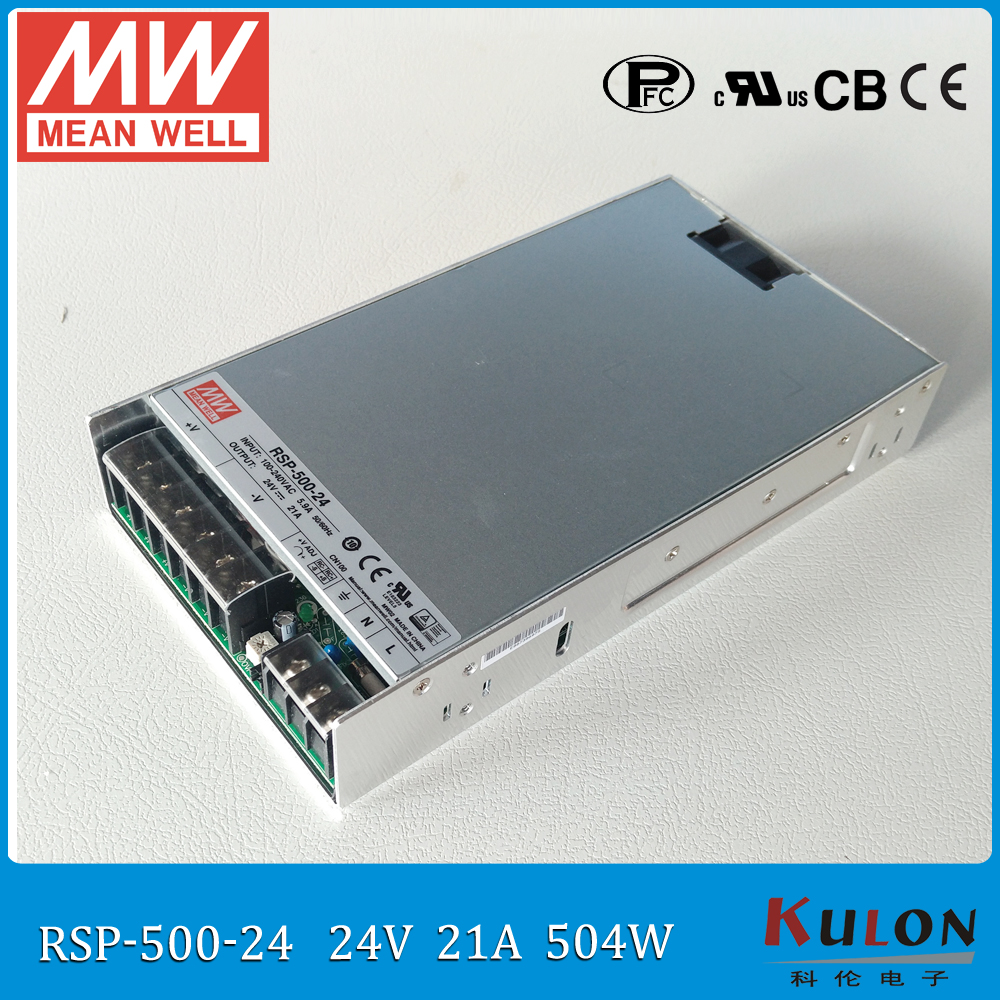 Original MEAN WELL RSP-500-24 500W 21A 24V Meanwell Power Supply 110/220VAC 24V Power Supply with PFC