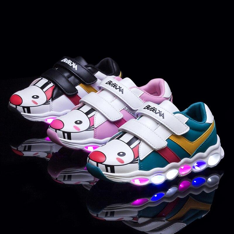 Мода мультфильм шаблон Кожа PU детей светодиодные Обувь для девочек анти скользкой Красочные Лоскутная свет детская обувь Обувь для мальчик... ...