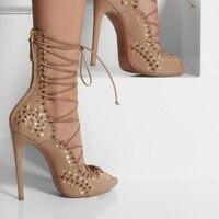 Хаки женские САНДАЛИИ ГЛАДИАТОРЫ обувь с открытым носком Для женщин летние туфли высокий каблук выдалбливают заклепки зашнуровать Чай Дли