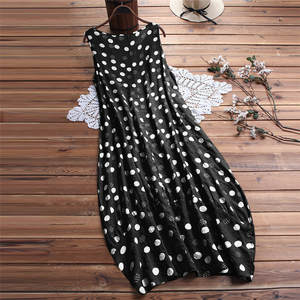Summer Dress 2019 Women Polka Dot Print dresses O Neck Sleeveless Sundress Loose Maxi Long Beach Bohemian Vintage Dress #1