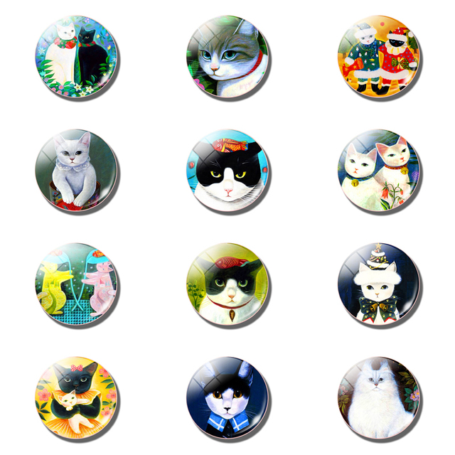 12pcs Cute Cat Fridge Magnet Sets Lovely 25MM Glass Note Holder Removable Magnets Refrigerator Sticker Magnetic Home Decor 5