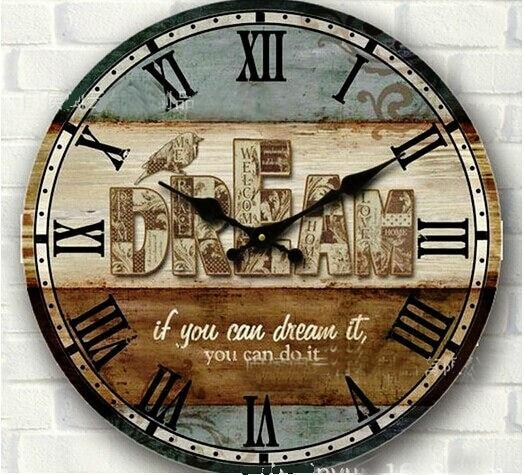 2029285186c 34 cm de madeira do vintage relógio de parede rústico grande circular  digital home decoração da