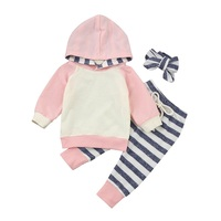 2017 Newborn Baby Boys Girls Clothes Autumn Casual Long Sleeve Stripe Hooded Tops Pants 3Pcs Outfits