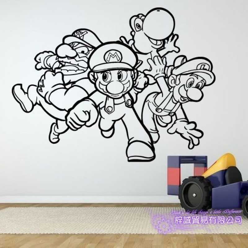 Super Mario Video Game Sticker Play Game Room Decal Gaming Posters Gamer  Vinyl Wall Decals Parede Decor Mural Video Game Sticker