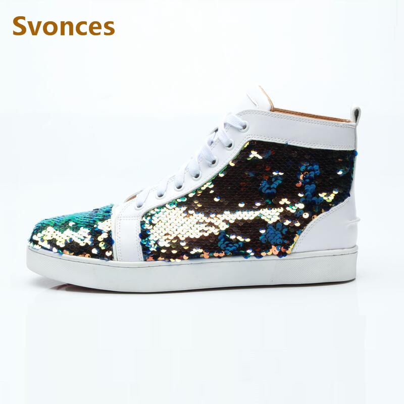 New Customized Sequined Bling Bling Unisex Boots Glitter High Top Lace-up  White Sneakers Flats ea17993da572
