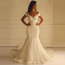 2019 Mermaid Wedding Dress Off The Shoulder Plus size Lace Appliques Elegant Sexy Lace Trumpet Wedding Dresses vestido de noiva plus size off the shoulder flounce lace dress
