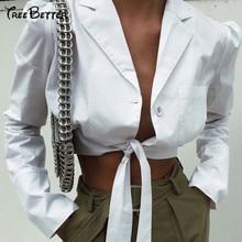 Turtleneck Long Sleeve White Tie Up Jacket Outwear Women Coat Open Stitch 2019 Summer Sexy Streetwear