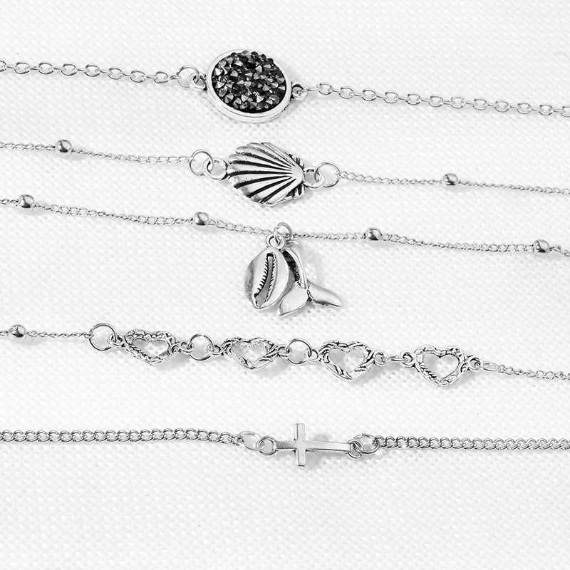 Bohemian Shell Cross Heart Charm สร้อยข้อมือ Ocean Fishtail เงินหลาย Beach Shell สร้อยข้อมือกำไลข้อมือของขวัญเครื่องประดับ