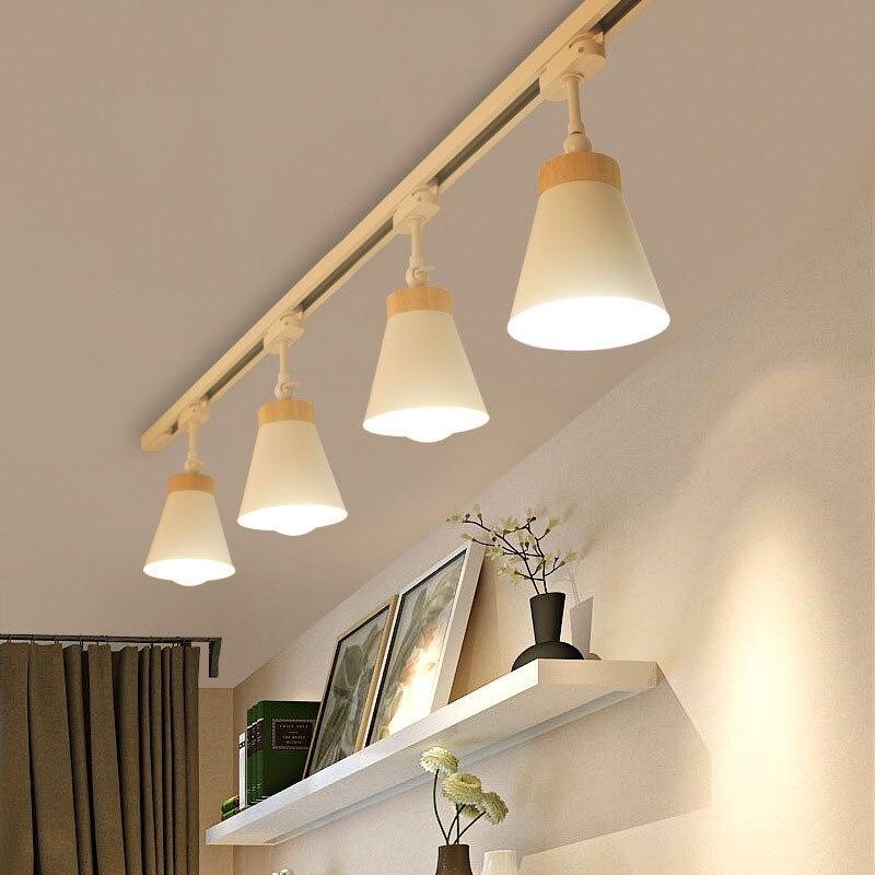 Moderne en bois plafond Spot LED piste lumière E27 piste lampe lumières Rail projecteurs LED s suivi luminaire pour fond magasin magasin