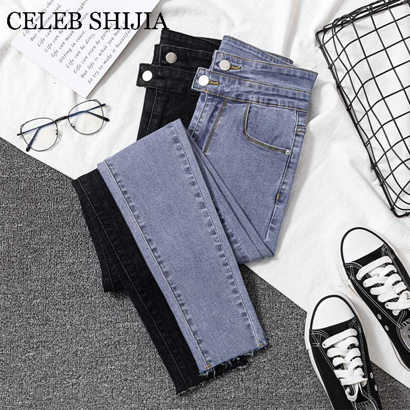 2019   Jeans   Women black Pants High Elastic Denim Women Pants Hole High Waist Skinny Stretch Women Pencil Pants Plus Size S-XXL