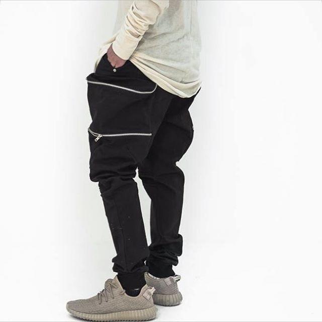 Streetwear hip hop ropa urbana diseños chinos pantalones 30-36 negro bolsillo grande del basculador de la cremallera vestido harem hombres