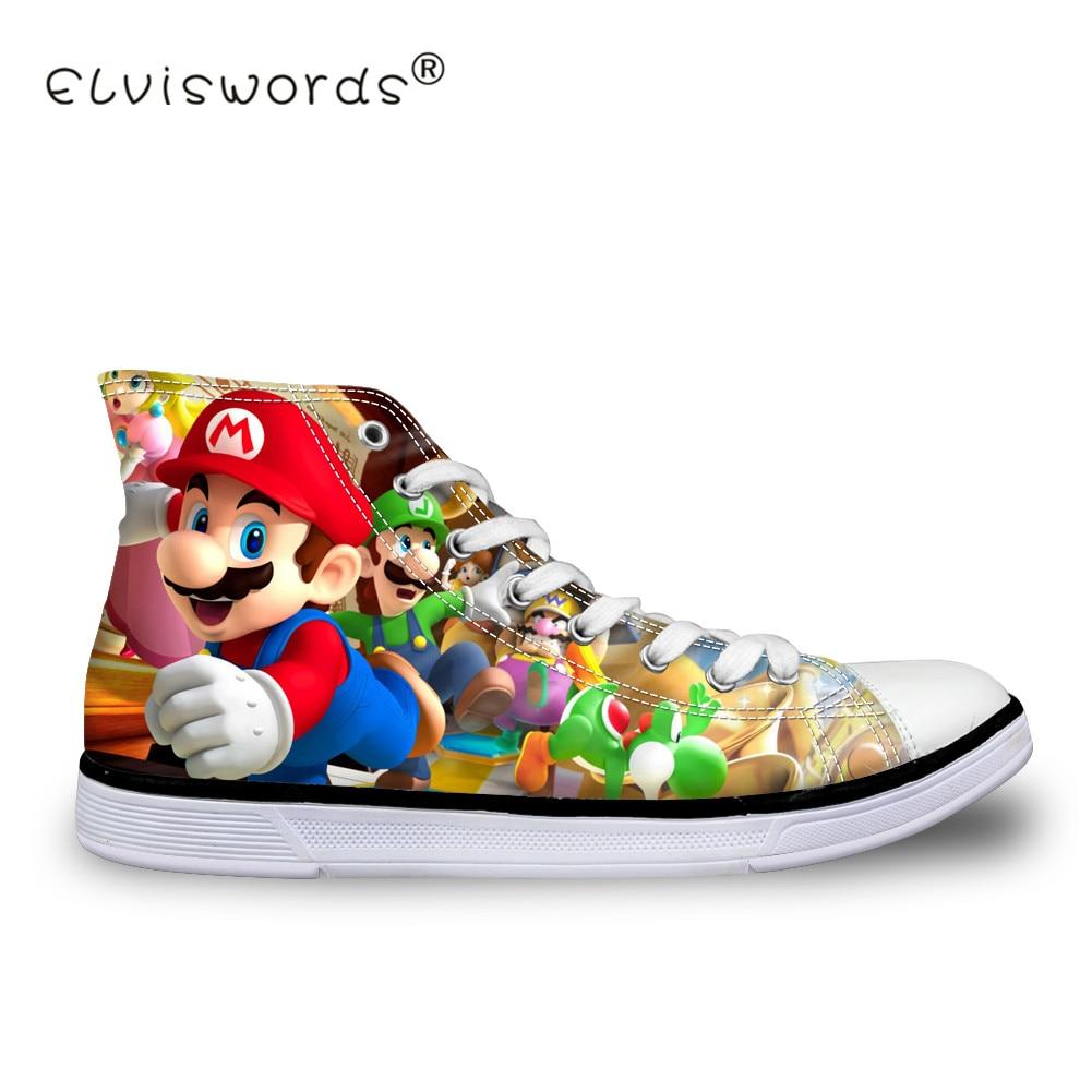 be8035c59653 ELVISWORDS Cartoon Super Mario Print Women Canvas Shoes Student Girls  Casual Walking Shoes Girls Ladies Lace-up Shoes Big Size
