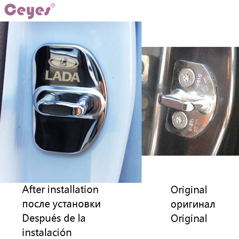 Image 5 - Ceyes Car Styling Auto Door Lock Covers Case For Lada Vesta SW Xray Cross Car Badge Accessories Stainless Steel Car Styling 4pcs-in Car Stickers from Automobiles & Motorcycles