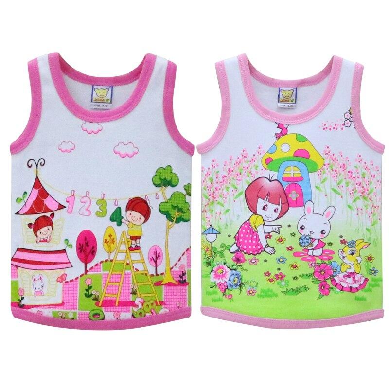 Kinderen Tops Voor 2-4 Jaar Oude Baby 100% Katoen Mouwloze Shirts O Hals Zachte Goede Kwaliteit Onderhemd Meisjes Vest V-boom