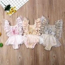 Боди для маленьких девочек, горячая Новая летняя одежда для маленьких девочек с цветочным принтом, Повседневное без рукавов Кружевное боди для новорожденного, для младенца Костюмы