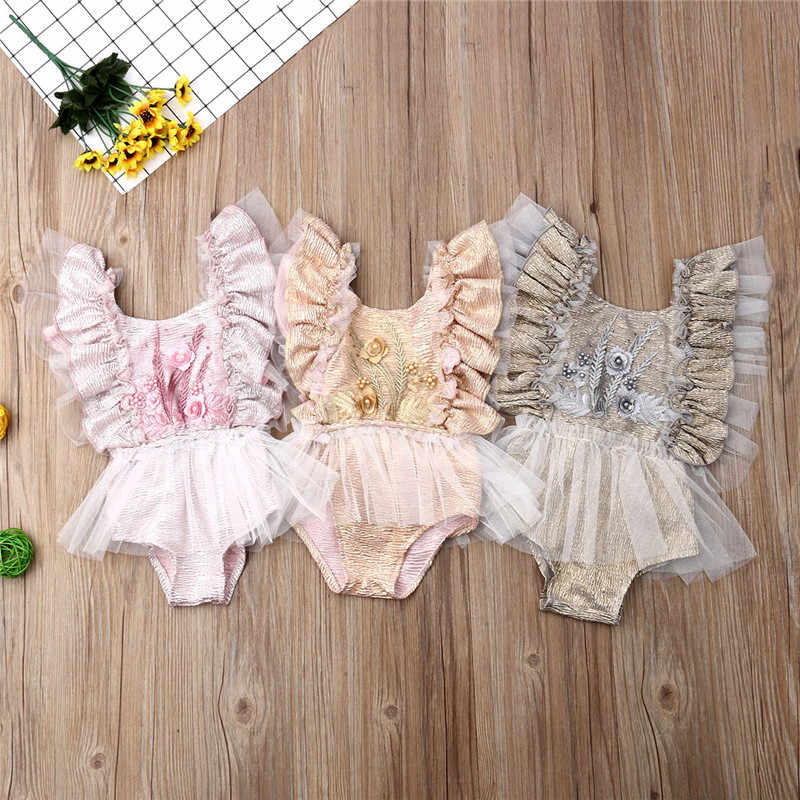 Baby Girls Bodysuits Hot Summer New Baby Girls Clothes Floral Casual Sleeveless Lace Bodysuit Jumpsuit Newborn Infant Clothing