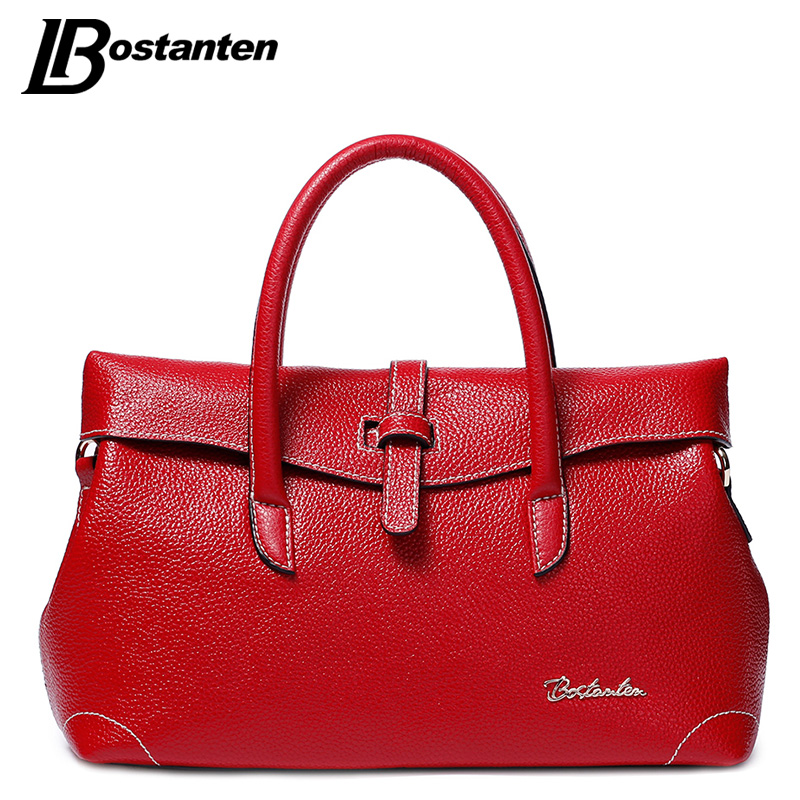 BOSTANTEN 2017 Fashion Split Leather Women Bags Luxury Brand Designer OL Ladies Handbags High Quality Red Black Female Tote Bags 2017 new elegant handbag for women high quality split leather female tote bags stylish red black gray ladies messenger bag