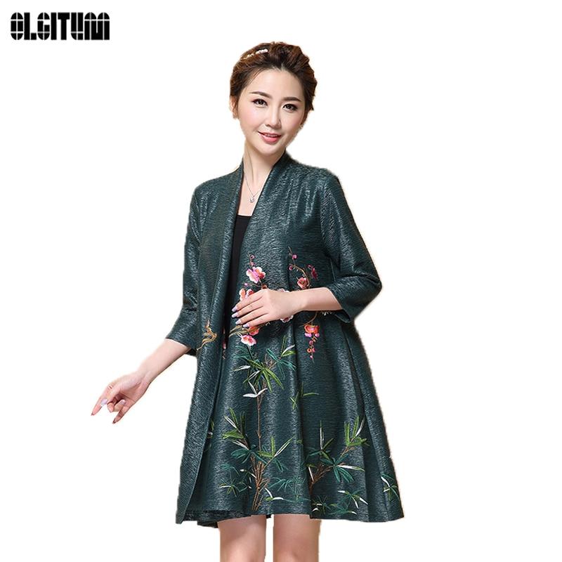 OLGITUM Coat Embroidery Kimono Jacket Women Silk Cardigans ...