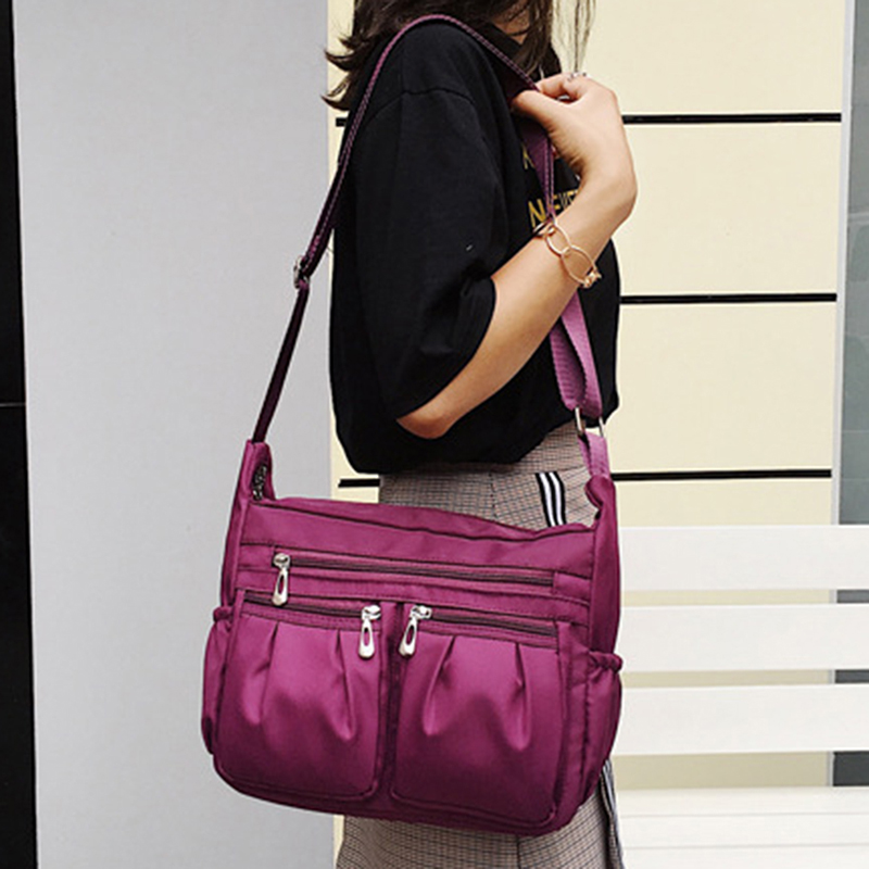 Nylon Diagonal Cross Bag Youth Fashion Casual Version Ladies Large Capacity Waterproof Shoulder Bag Solid Color Bag