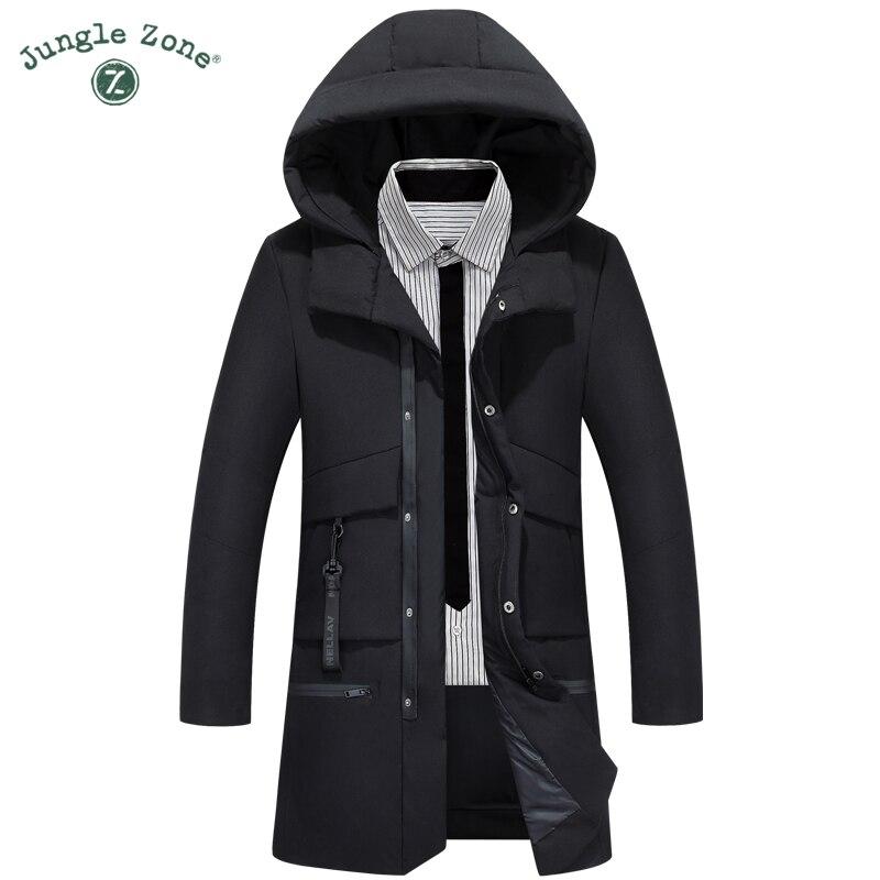 Здесь продается  JUNGLE ZONE Thick Warm Winter White Duck Down Jacket Medium-Long Multi-pocket Thickening Coat Men For Winter Outerwear 820  Одежда и аксессуары