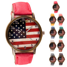 Women Watches Ladies 2016 Female Clock  American Flag pattern Leather Band Analog Quartz Vogue Wrist Watches Montre Femme