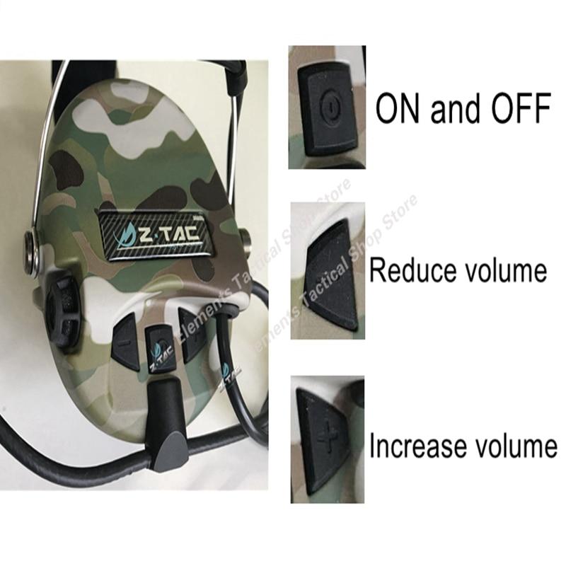 Z-TAC съемка тактическая гарнитура Sordin активный пикап шумоподавление Airsoft тактическая гарнитура для Walkie-talkie Z111-1