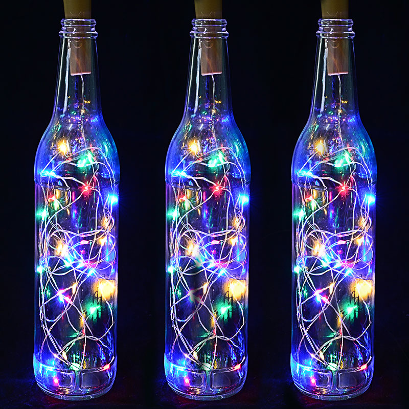 1/2M Wine Bottle Cork Lights LED Garland In Copper String Fairy Festoon Shining DIY Party Decoration Battery Power