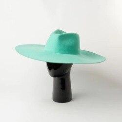 01908-HH8157 специальная Подгонянная зеленая шерстяная сплошная Шляпа Fedora для мужчин и женщин для отдыха Панама джазовая, шляпа