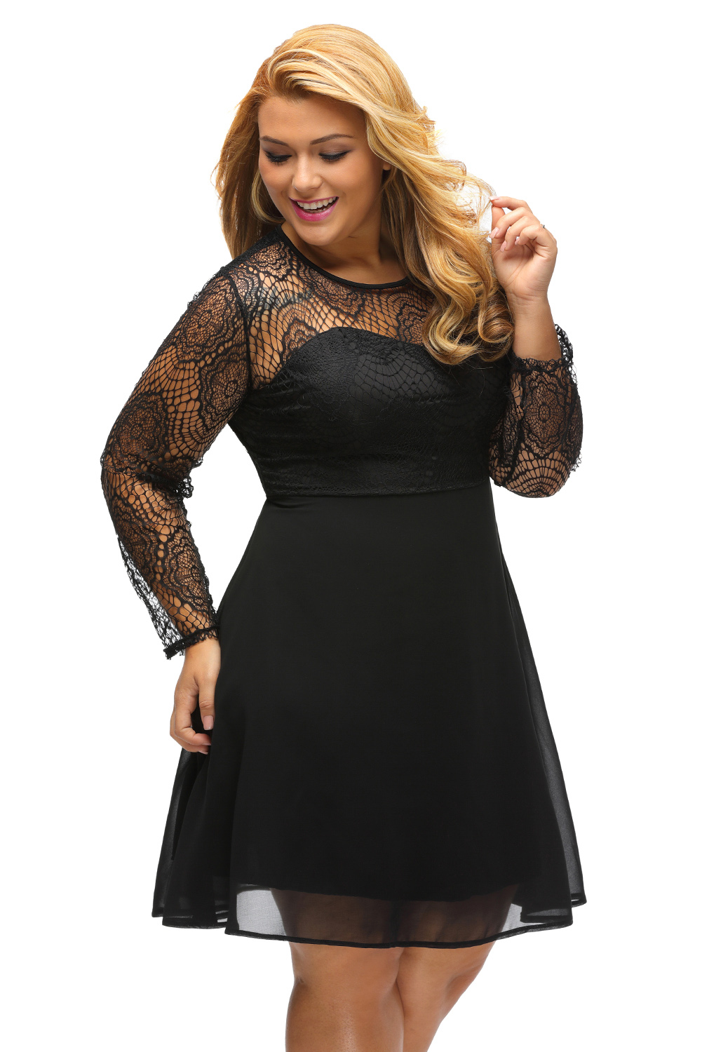 7764d89a3d78 2018 Women Elegant Vintage Black Boohoo Plus Size Lace Top Skater Dress  Casual Work Party A-Line Mini Dress Robe Femme DL22870