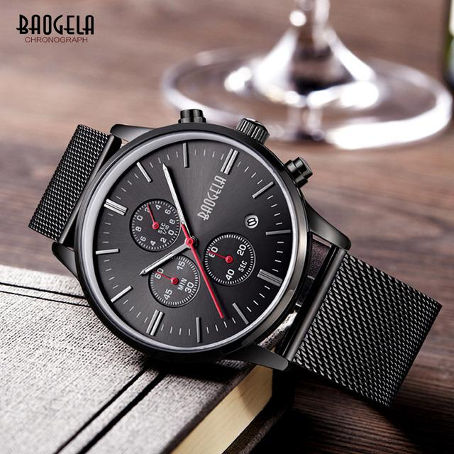 Baogela Moda Aço Inoxidável Banda de Pulso de Quartzo Relógios para Homens Luxo Chronograph Luminous Dress Watch for Man 1611 Preto