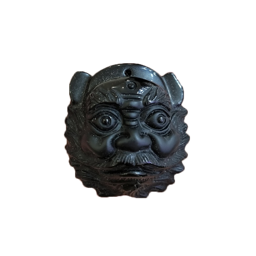 Verstandig Natuurlijke Kristal Steen Obsidiaan Hanger Dragon Guan Gong Guan Yu Skull Knight Hanger Ketting Voor Mannen