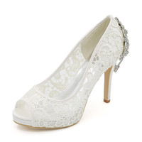 OnnPnnQ High Heels Platform Lace Wedding Shoes for Bride Peep Toe Slip on Crystals Evening Formal Party Dress Pumps Lady