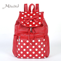 Women Backpack For Teenagers Girls Laptop Waterproof Leather Bow Dots High Quality Candy Color Student Female Drawstring Bags