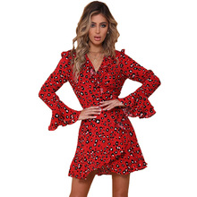 hot deal buy spring and summer classical leopard mini woman dresses a-line v-neck empire flare sleeve leopard female dresses 90s