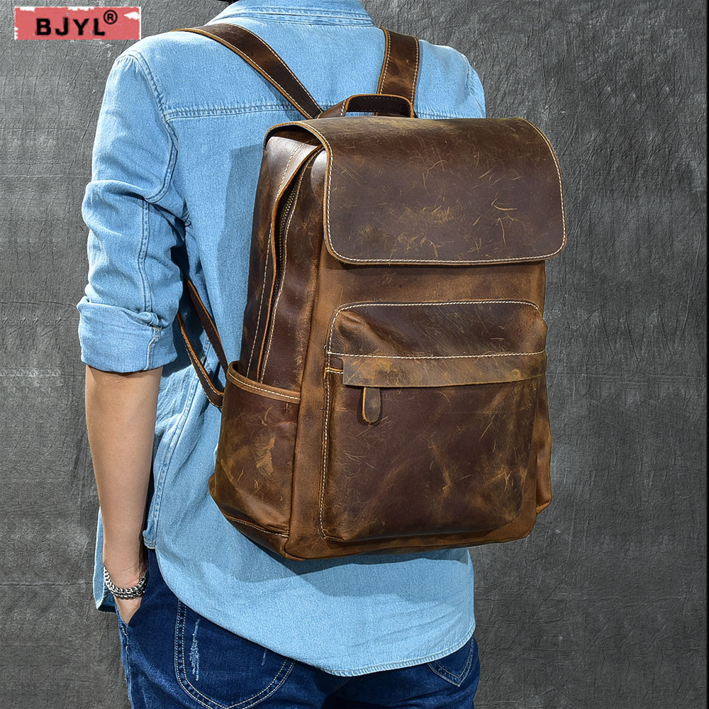 BJYL Classic first layer cowhide mens shoulder bag retro crazy horse leather travel backpack male school Laptop bagsBJYL Classic first layer cowhide mens shoulder bag retro crazy horse leather travel backpack male school Laptop bags