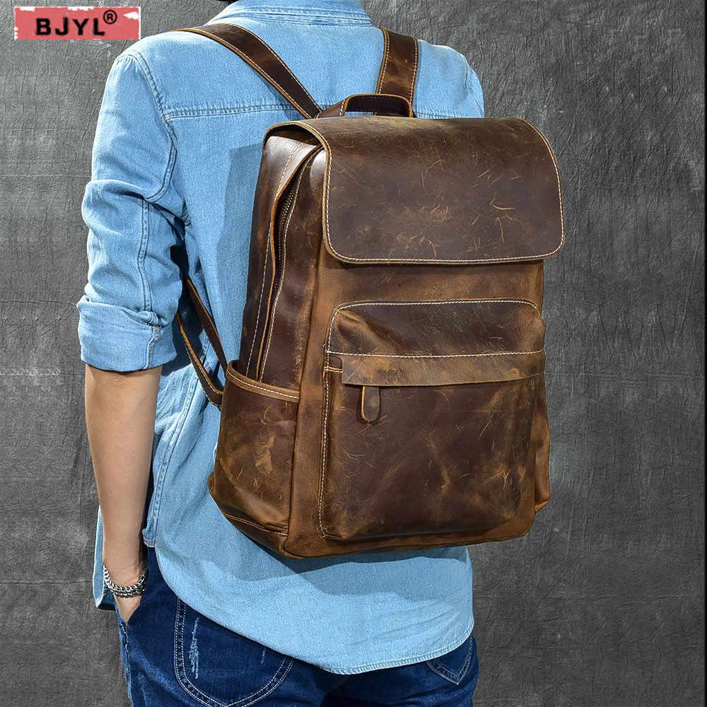 27607b2dc605 BJYL классический первый слой из воловьей кожи мужская сумка Ретро crazy  horse кожаный дорожный рюкзак мужской