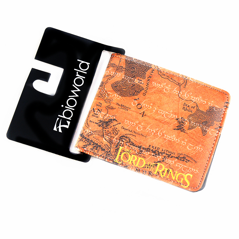 The Lord of the Rings Map Wallets Brown PU Leather Purse Young men and women students personality short animated cartoon Purses