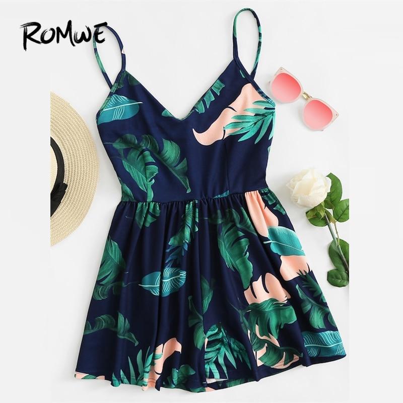 ROMWE virágmintás kivágás Cami romper 2019 divat nyár közepén derék női romper üreges ujjatlan v nyak szexi romper