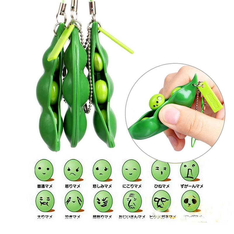 Unlimited Squeeze Toy Peas Shape Toy Boredom Stress Relieving Toy Key Mobile Phone Small Hanging Ornament 12 Kinds Of Expression