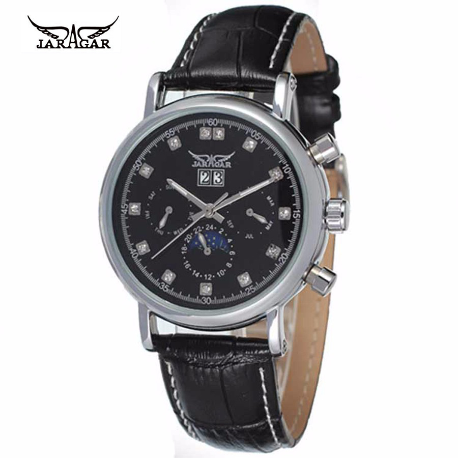 Men Watch Luxury Brand JARAGAR Automatic Mechanical Wrist Watches Stainless Steel Dial Tourbillon Watch Male Atmos Clock jaragar brand casual male clock military business tourbillon skeleton automatic mechanical sport men luxury wrist dress watches