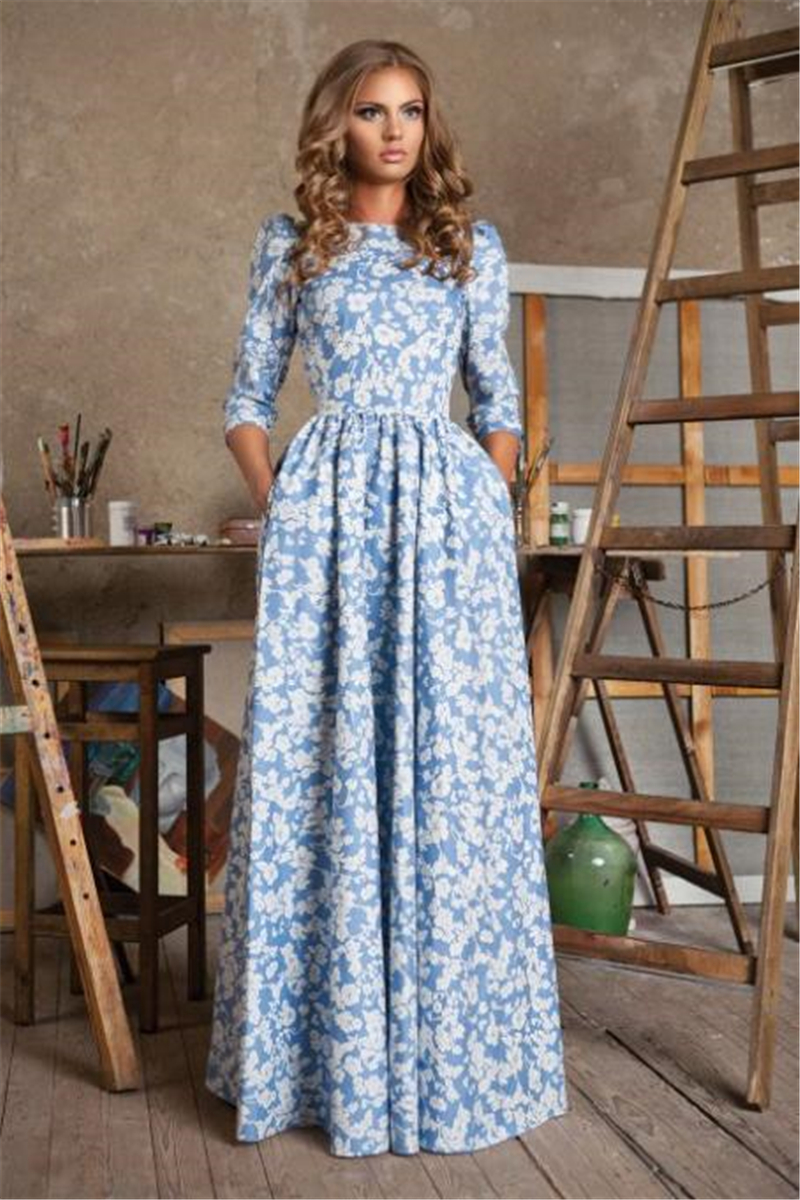 maxi long floral print dress summer women elegant party dress long sleeve casual dresses womens. Black Bedroom Furniture Sets. Home Design Ideas