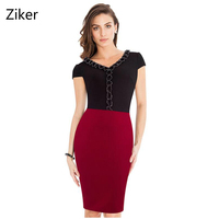 New Fashion Women Summer Pencil Dresses Patchwork Sexy V Neck Elegant Slim Bodycon Dress Casual Knee