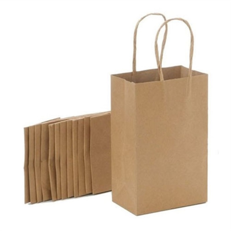 Small Brown Kraft Paper Bags With Handles Environmental Ping Bag