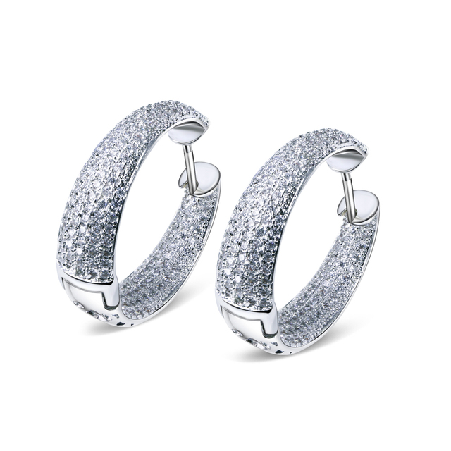 DC1989 Women Hoop Earrings Rhodium or Gold Plated Synthetic Cubic Zircon Paved boucles d'oreilles pour les femmes Diameter 2.4cm