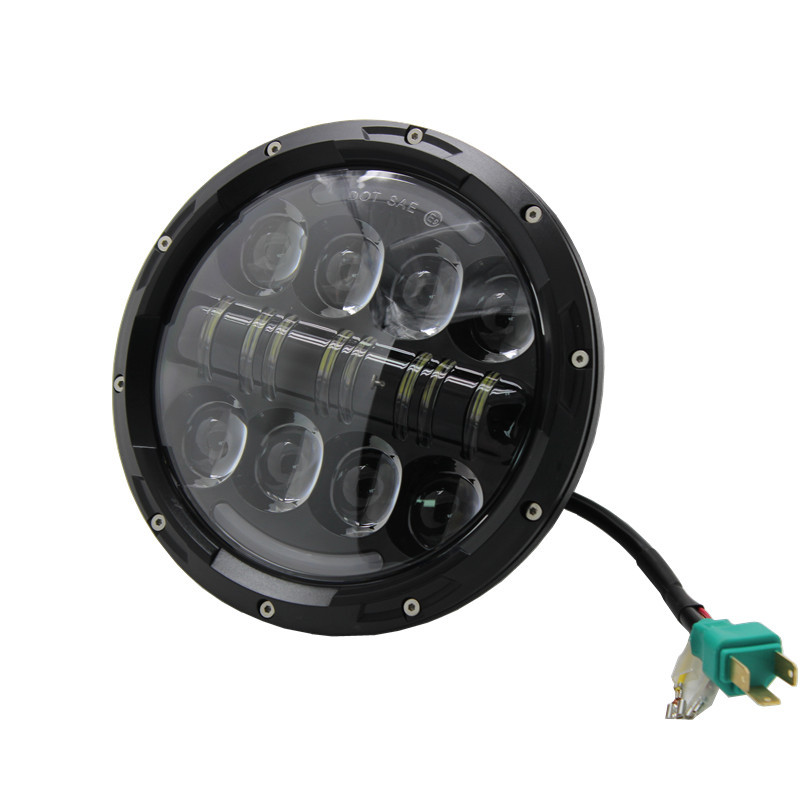 1 Piece Round 7inch LED Motorcycle Headlight 80W Offroad Driving Lights with Amber Turn Signal Eye for jeep Wrangler CJ JK TJ black chrome round 75w high low beam drl led auto headlight driving fog lights for jeep wrangler hummer h1 h2 offroad