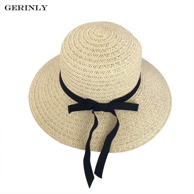 c0f99099fe3 GERINLY Summer Cap for Sunscreen Women Floppy Sun Beach Straw Hats Wide Brim  Packable Summer Cap Bow Tie Sombreros
