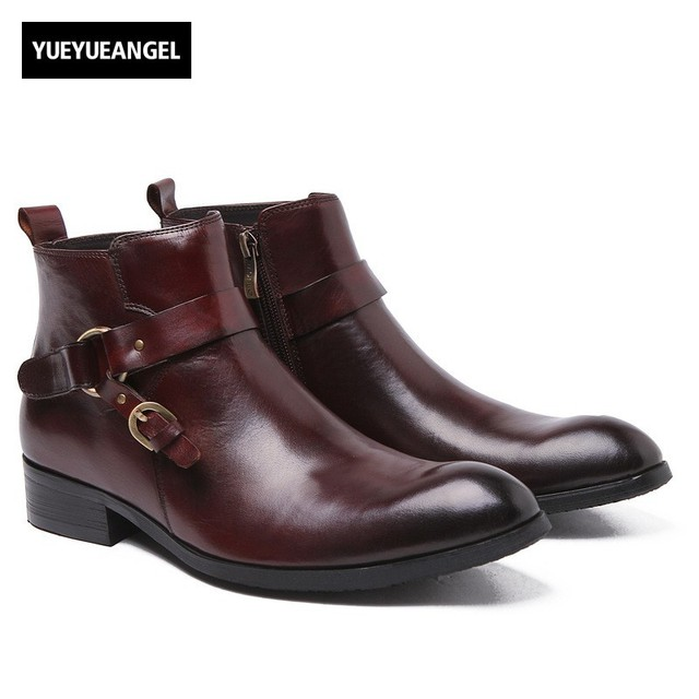 Mens Chelsea Boots With Buckle Genuine Leather Brogue Business Casual Shoes Office Wedding Dress Pointed