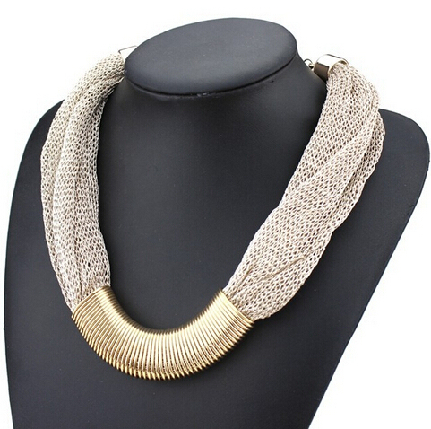 New 2014 design fashion luxury jewelry necklace gold plated twisted Singapore chain statement necklaces